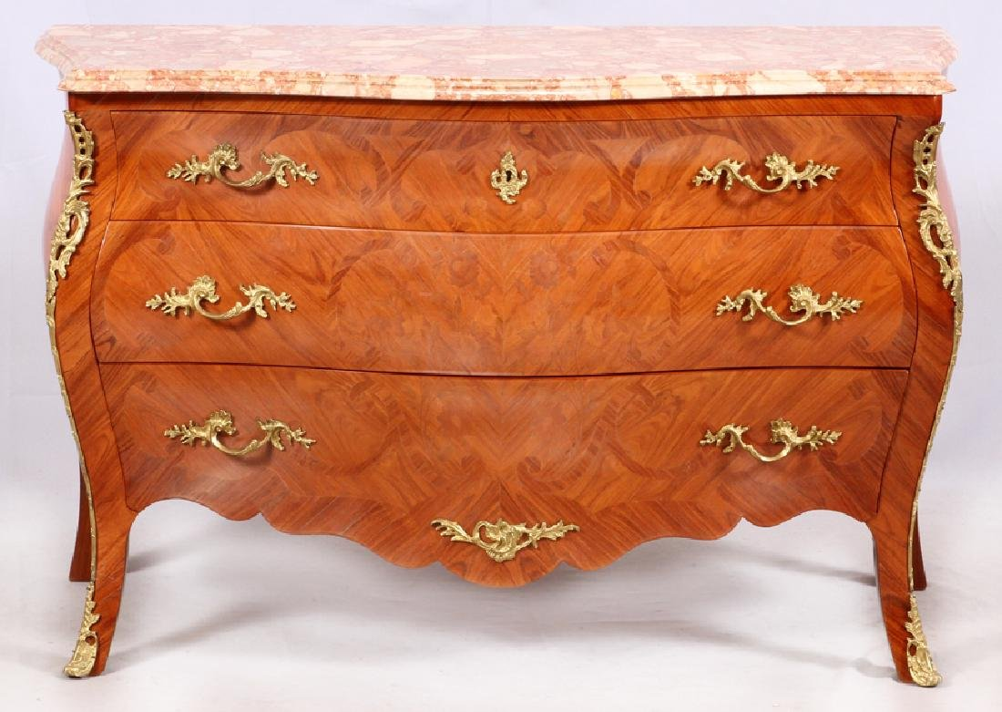 LOUIS XV STYLE MARQUETRY CHEST OF DRAWERS