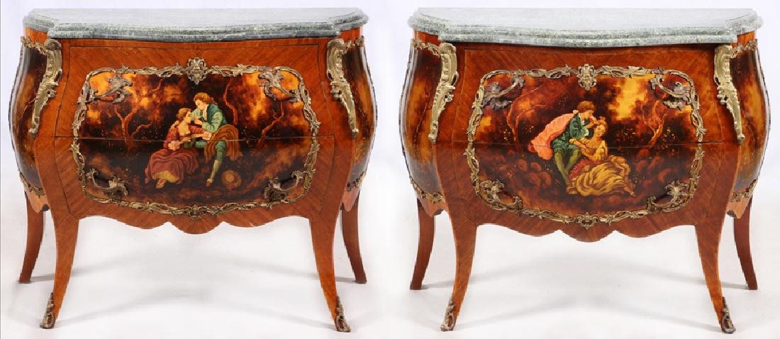LOUIS XV STYLE BOMBE COMMODES, 20TH C. PAIR