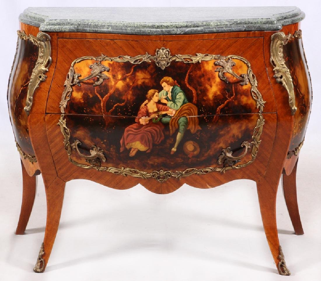 LOUIS XV STYLE BOMBE COMMODES, 20TH C. PAIR - 2
