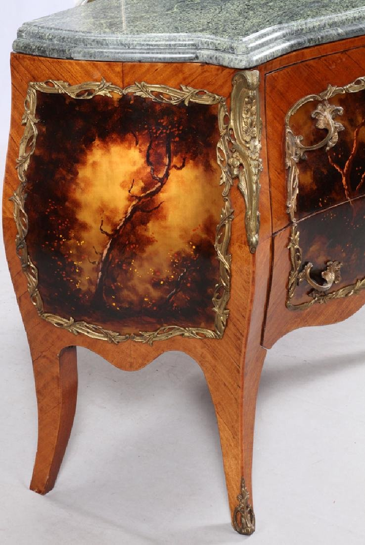 LOUIS XV STYLE BOMBE COMMODES, 20TH C. PAIR - 4