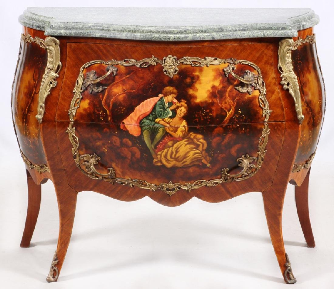 LOUIS XV STYLE BOMBE COMMODES, 20TH C. PAIR - 6