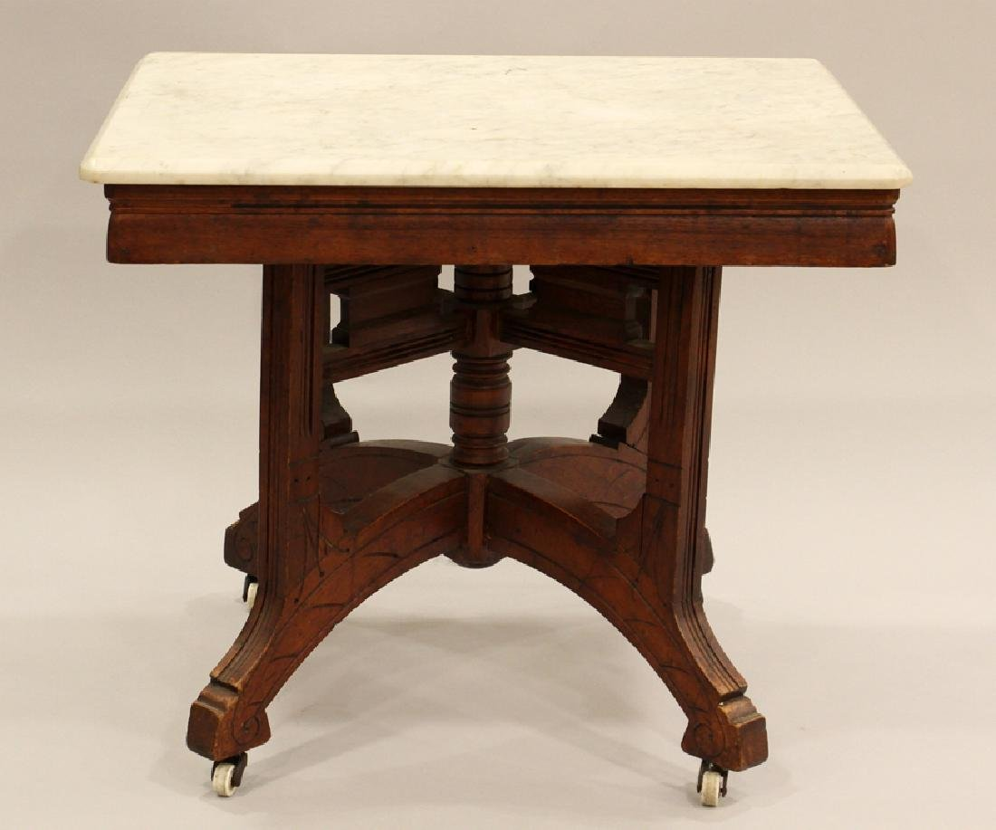 VICTORIAN CARVED WALNUT SQUARE MARBLE TOP TABLE