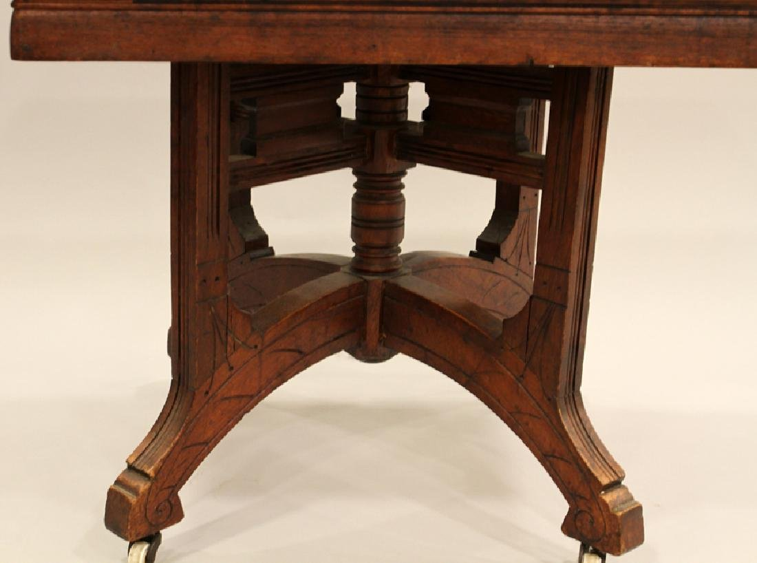 VICTORIAN CARVED WALNUT SQUARE MARBLE TOP TABLE - 2