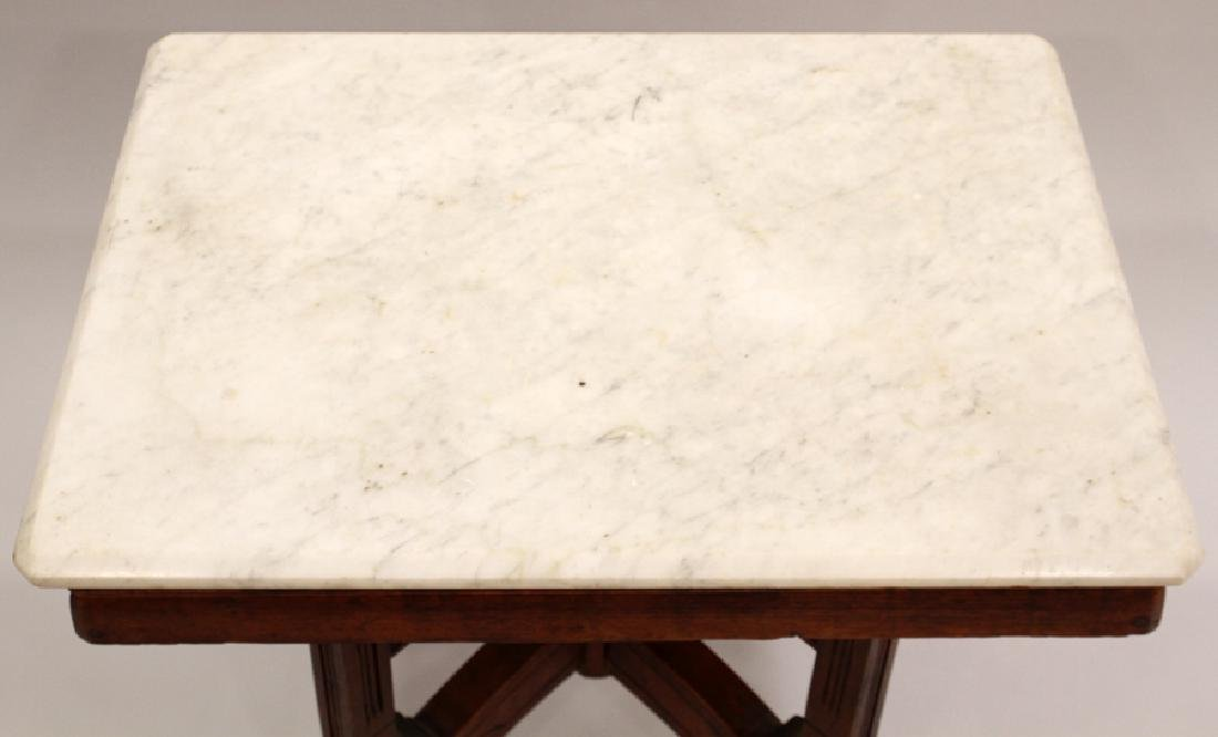 VICTORIAN CARVED WALNUT SQUARE MARBLE TOP TABLE - 3