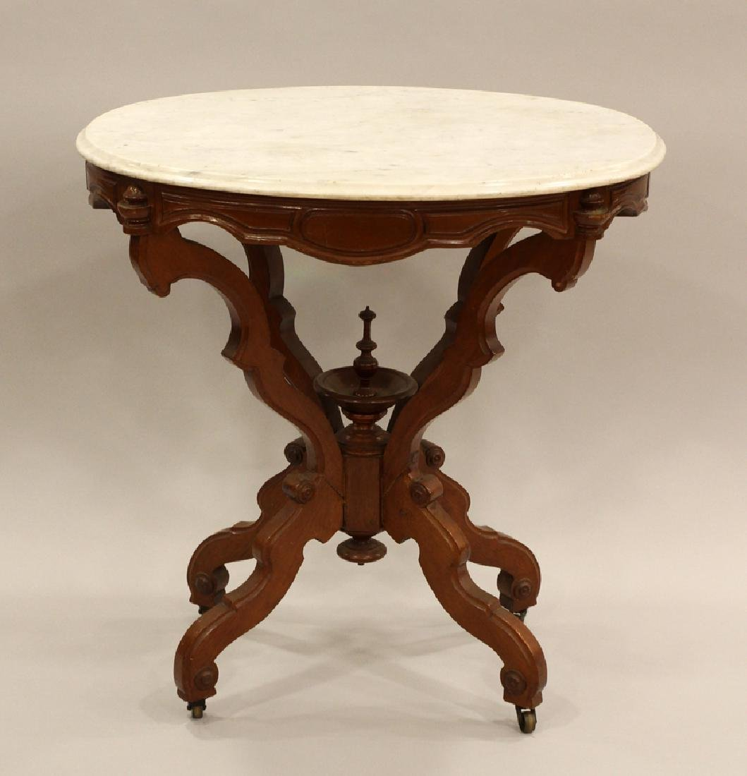 VICTORIAN CARVED WALNUT OVAL MARBLE PARLOR TABLE