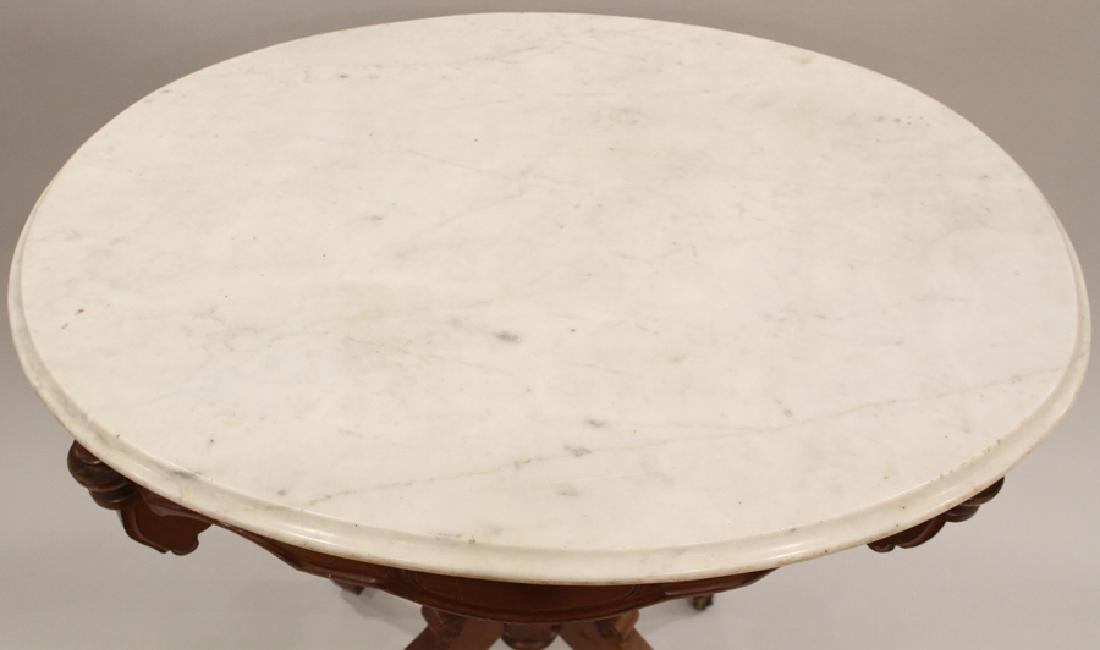 VICTORIAN CARVED WALNUT OVAL MARBLE PARLOR TABLE - 4