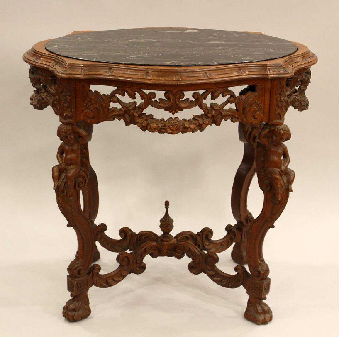 FRENCH VICTORIAN WALNUT MARBLE TOP PARLOR TABLE