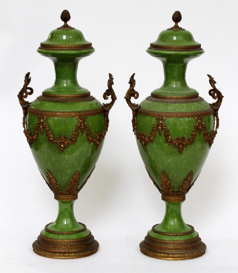 FRENCH, BRONZE & PORCELAIN MOUNTED COVERED URNS