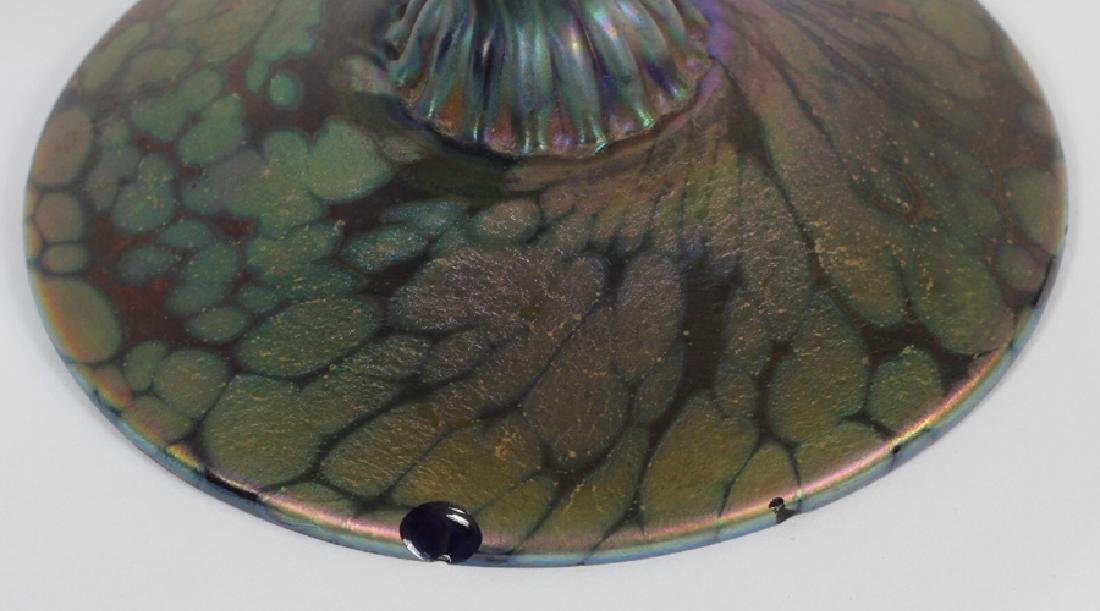 IRIDESCENT GLASS TRUMPET VASES, PAIR - 3