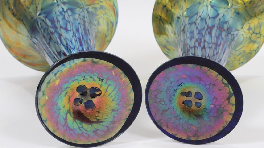 IRIDESCENT GLASS TRUMPET VASES, PAIR - 4