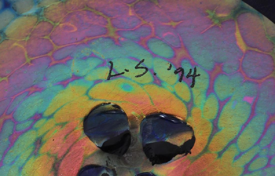 IRIDESCENT GLASS TRUMPET VASES, PAIR - 6
