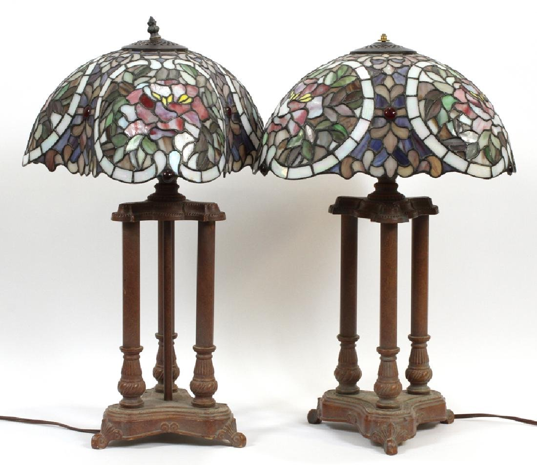 COLUMN FORM AND LEADED GLASS LAMPS, PAIR