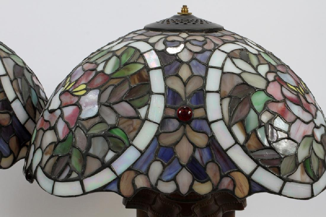COLUMN FORM AND LEADED GLASS LAMPS, PAIR - 2