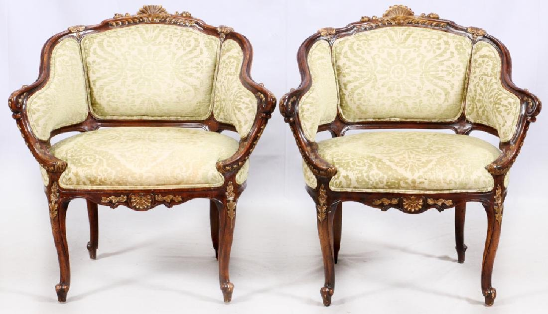 FRENCH STYLE UPHOLSTERED WALNUT ARMCHAIRS, PAIR