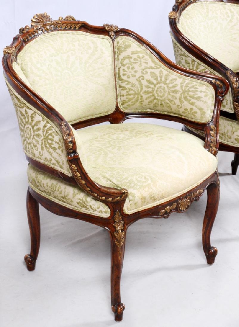 FRENCH STYLE UPHOLSTERED WALNUT ARMCHAIRS, PAIR - 3