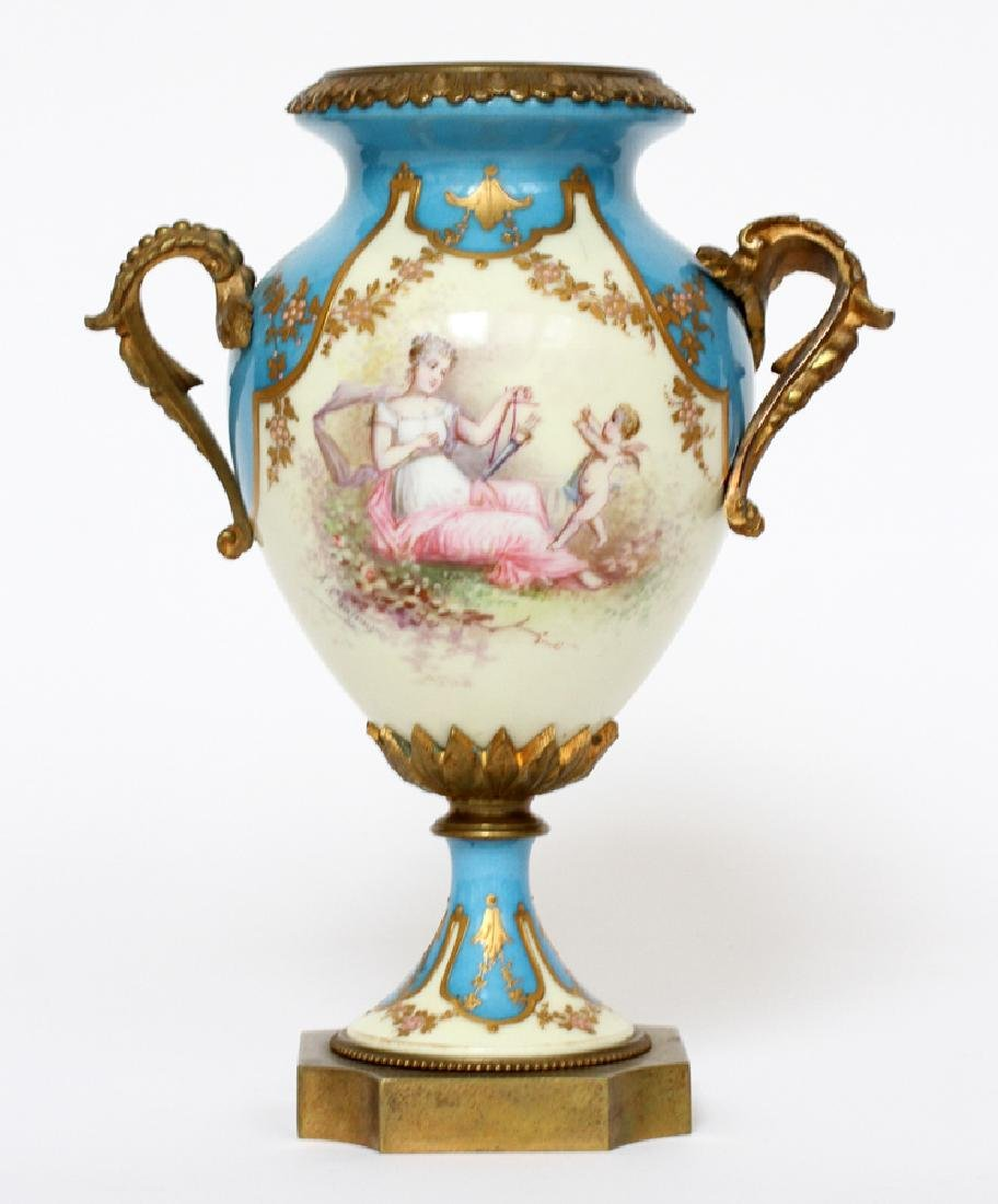 A. CHAPUIS, FRENCH BRONZE & SEVRES PORCELAIN URN