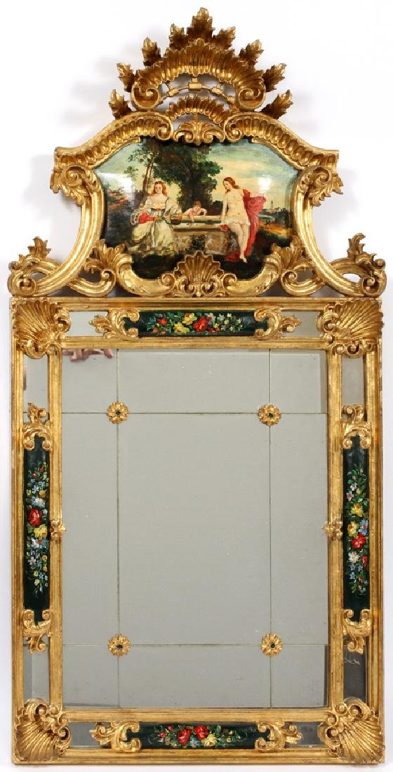 ROCOCO STYLE GILT & PAINTED PORTUGUESE WALL MIRROR