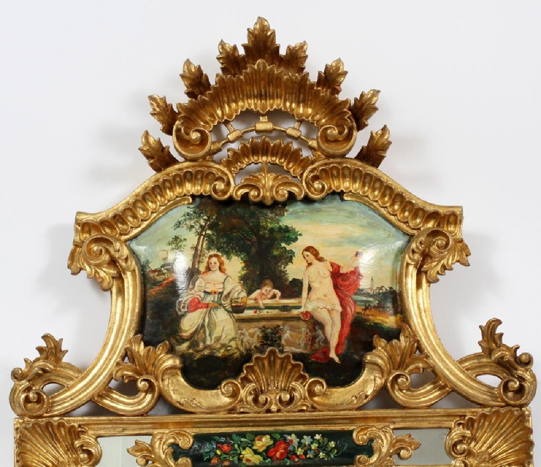 ROCOCO STYLE GILT & PAINTED PORTUGUESE WALL MIRROR - 2