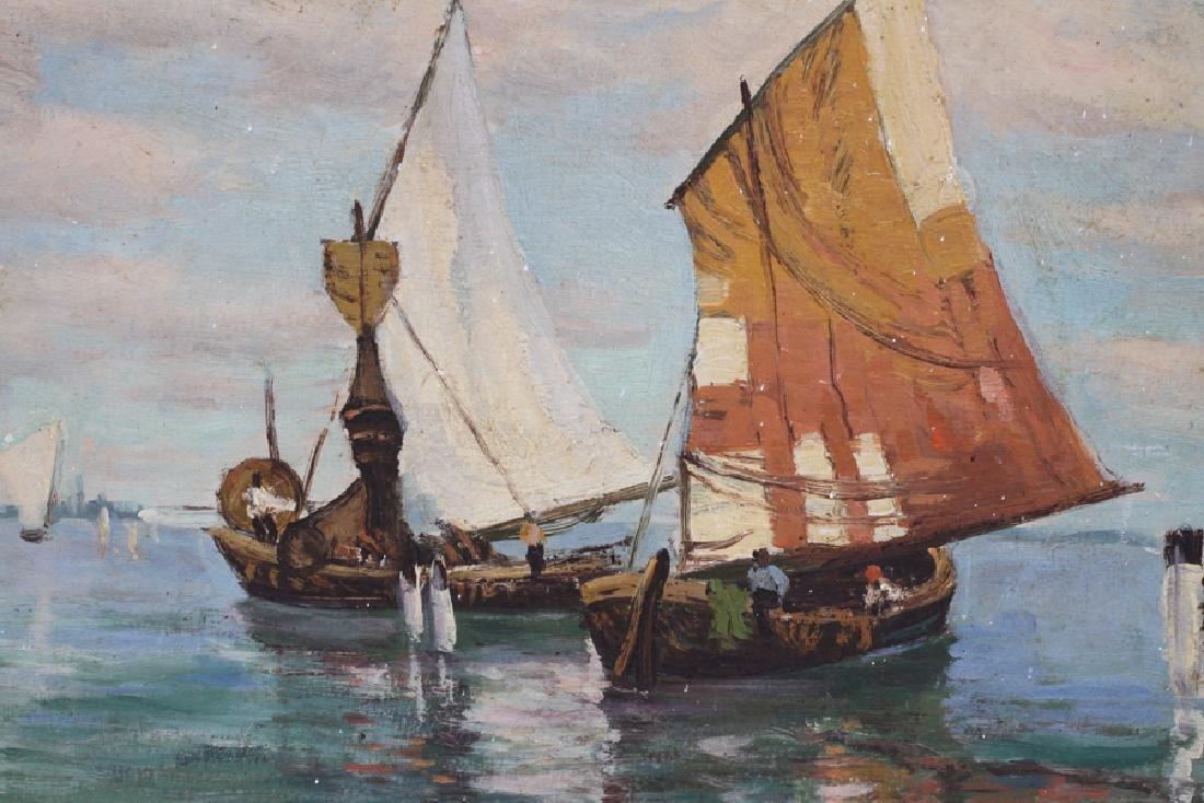 ERNEST FREDERICKS OIL ON ARTIST BOARD SAILBOATS - 2