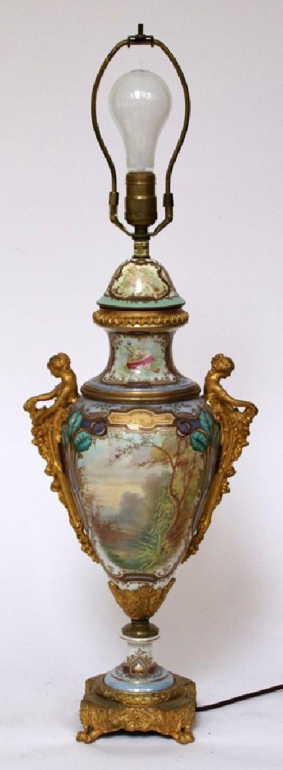 EUROPEAN HAND-PAINTED  PORCELAIN LAMP - 4
