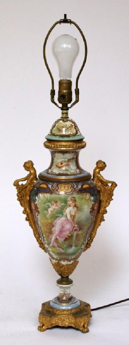 EUROPEAN HAND-PAINTED  PORCELAIN LAMP - 5