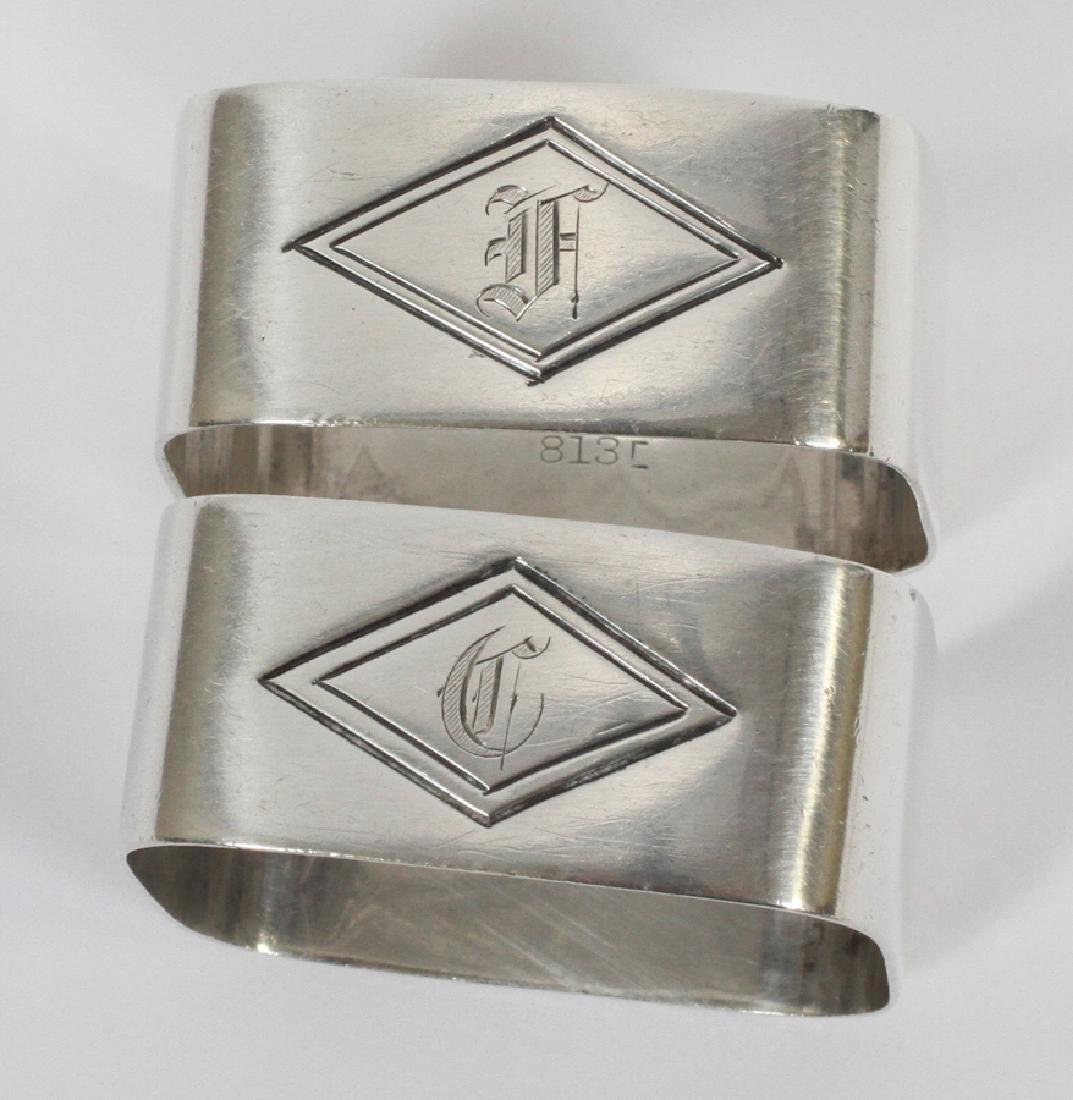 STERLING SPOONS (3) NAPKIN RINGS (2) AND TRAY - 8