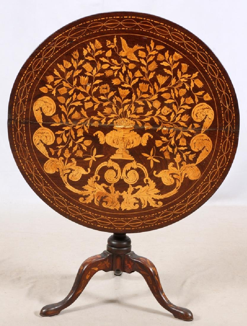 ENGLISH MARQUETRY TILT TOP TABLE, 19TH.C.