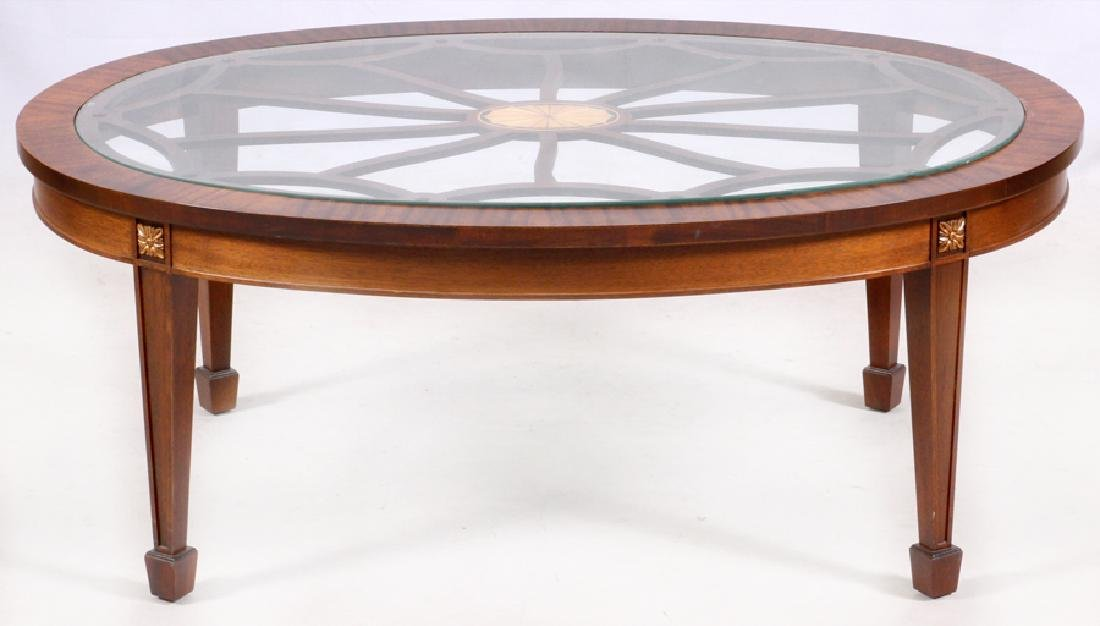 GLASS TOP MAHOGANY COFFEE TABLE