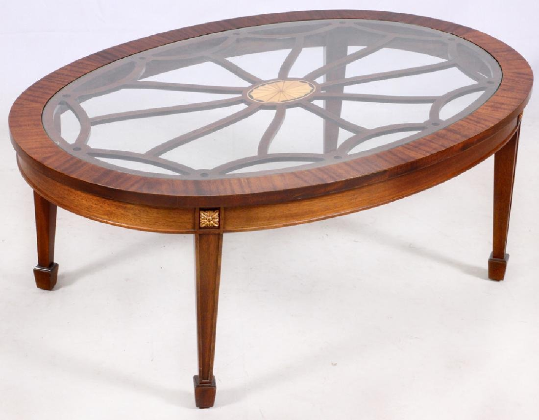 GLASS TOP MAHOGANY COFFEE TABLE - 2