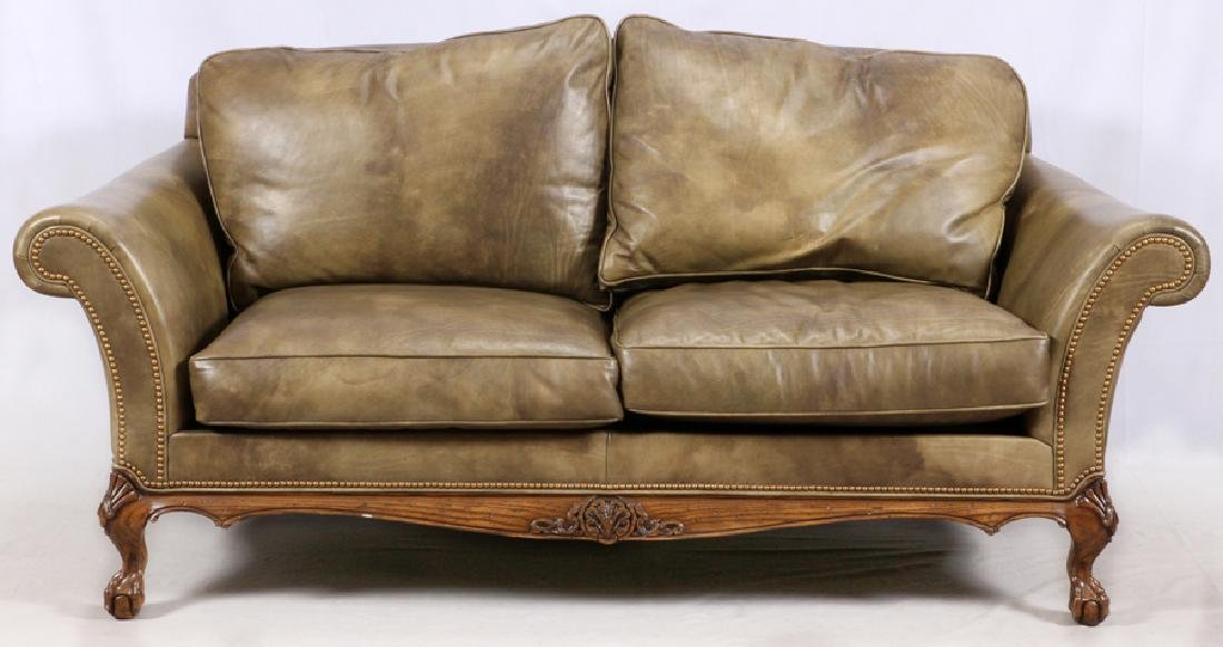 CHIPPENDALE STYLE LEATHER SETTEE & ARMCHAIR