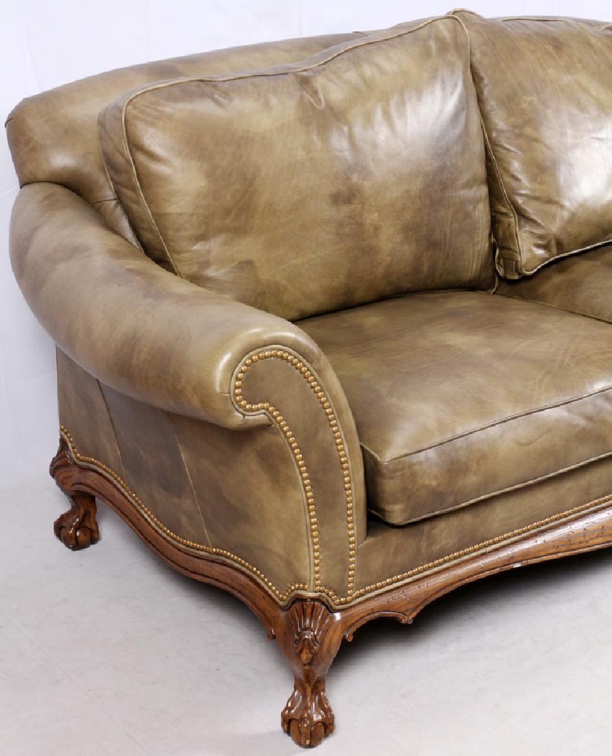 CHIPPENDALE STYLE LEATHER SETTEE & ARMCHAIR - 2