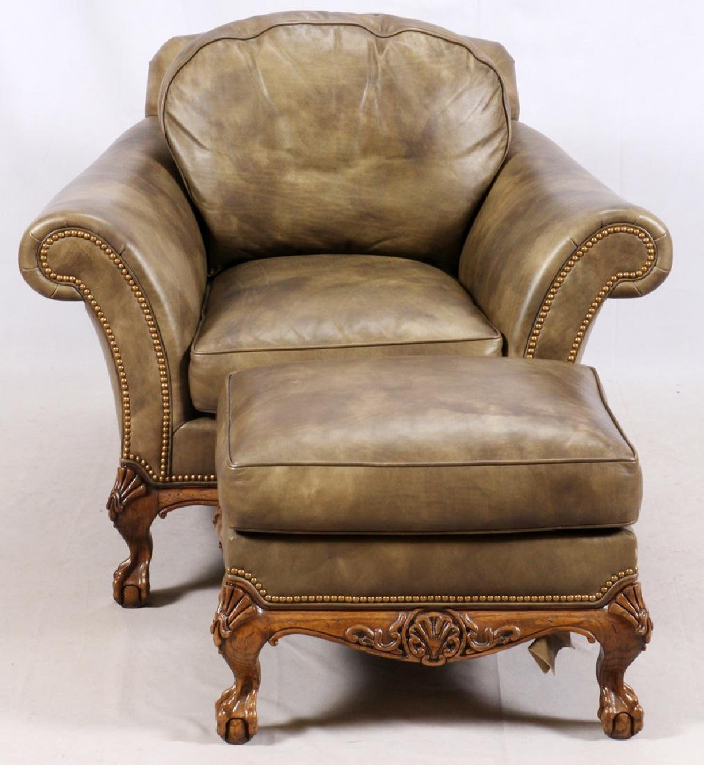 CHIPPENDALE STYLE LEATHER SETTEE & ARMCHAIR - 4