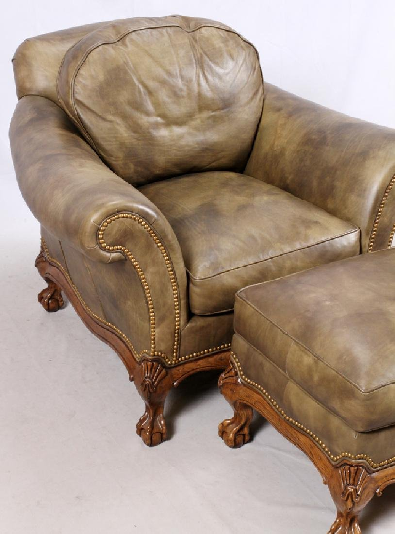 CHIPPENDALE STYLE LEATHER SETTEE & ARMCHAIR - 5