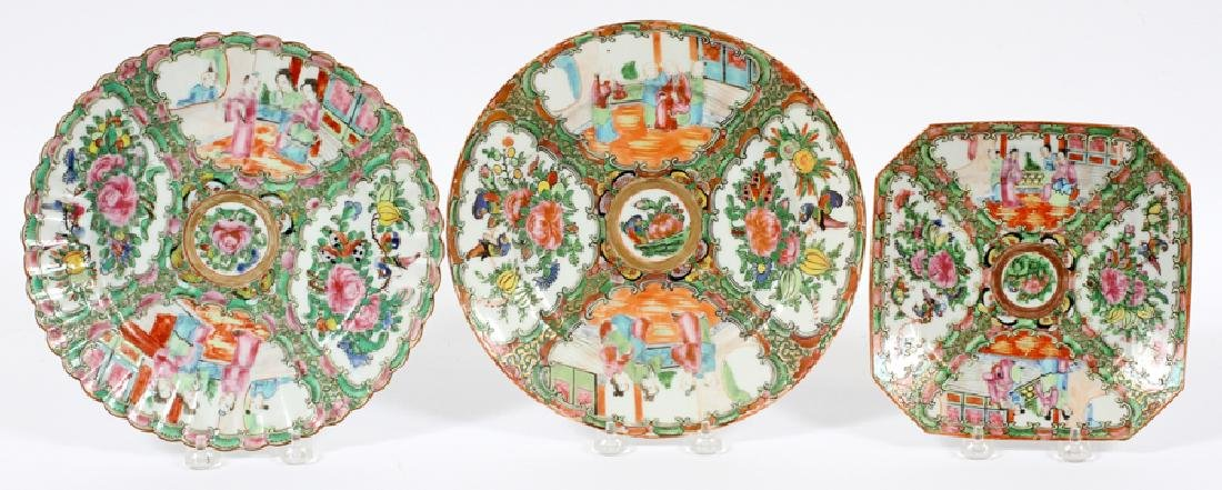 THREE CHINESE MEDALLION PORCELAIN PLATES