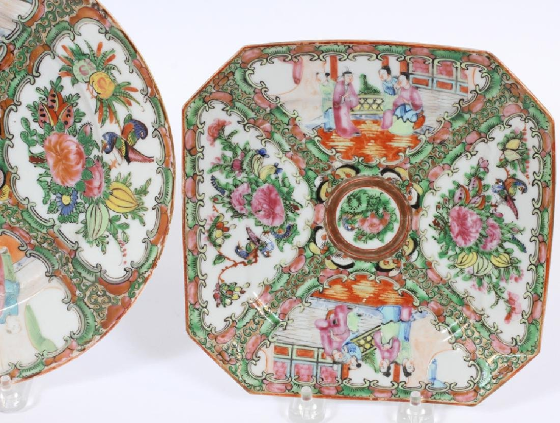 THREE CHINESE MEDALLION PORCELAIN PLATES - 4