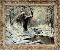 LASZLO NEOGRADY OIL ON CANVAS WINTER FOREST