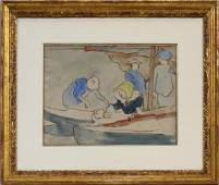 LOUIS VALTAT WATERCOLOR OYSTER FISHERMAN