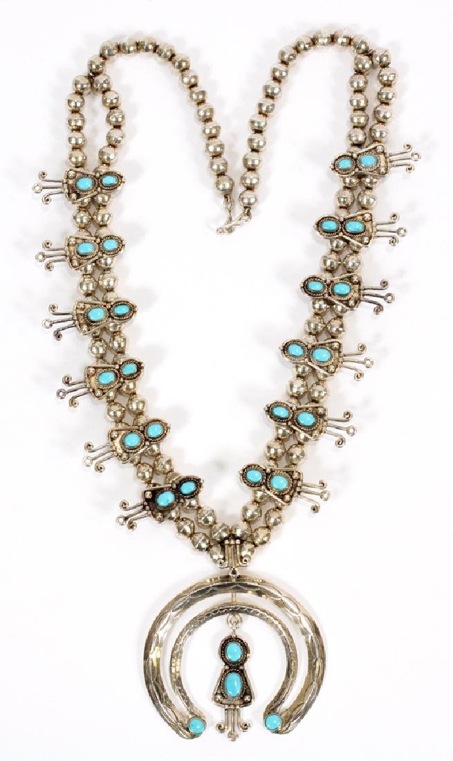STERLING SILVER & TURQUOISE BLOSSOM NECKLACE