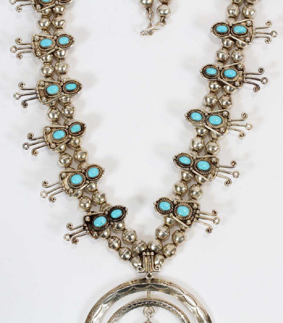 STERLING SILVER & TURQUOISE BLOSSOM NECKLACE - 3