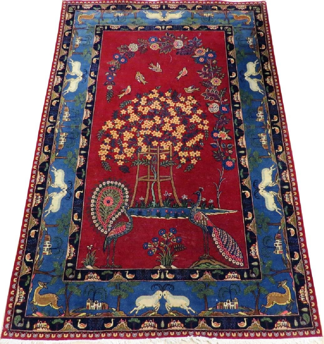 PERSIAN TABRIZ WOOL PICTORIAL RUG, SEMI-ANTIQUE