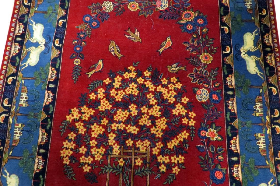 PERSIAN TABRIZ WOOL PICTORIAL RUG, SEMI-ANTIQUE - 4