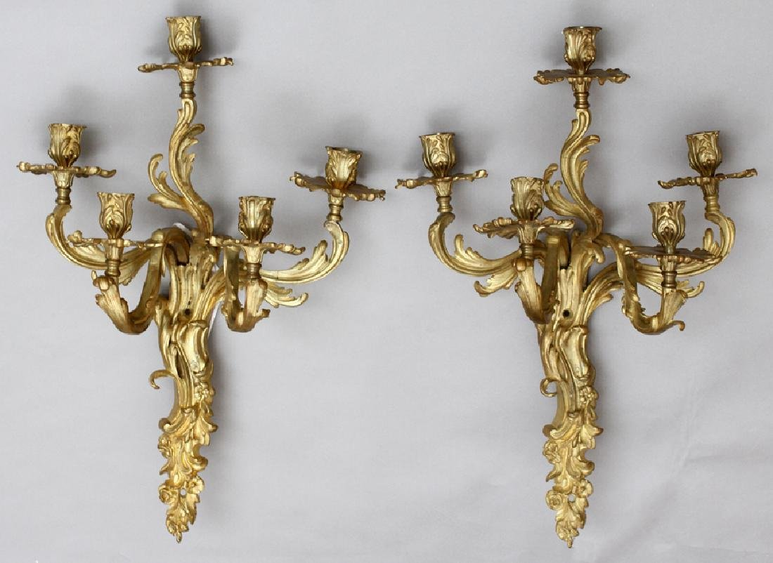 FRENCH D'ORE BRONZE 5 LIGHT WALL SCONCES, PAIR