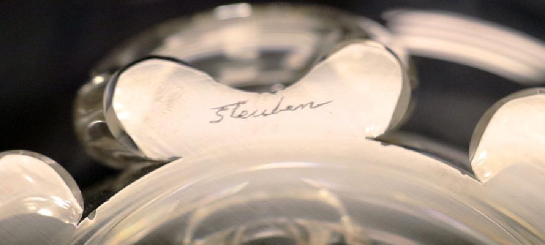 "STEUBEN  HAND BLOWN GLASS CENTERPIECE, DIA 13"" - 2"