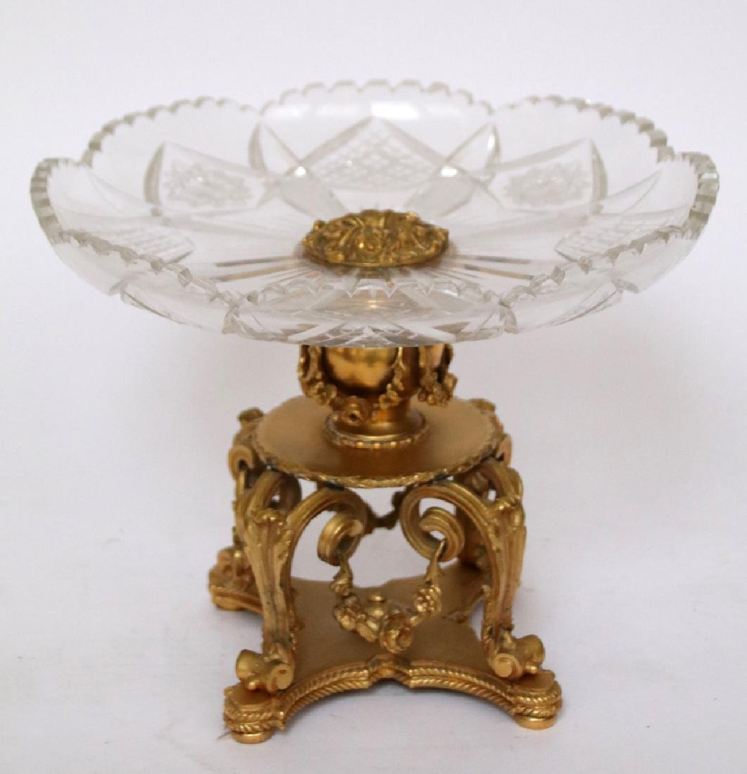 CRYSTAL & BRONZE CENTERPIECE COMPOTE & BOWL