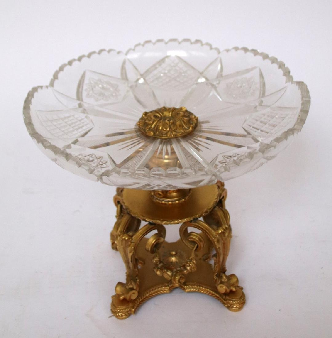 CRYSTAL & BRONZE CENTERPIECE COMPOTE & BOWL - 3