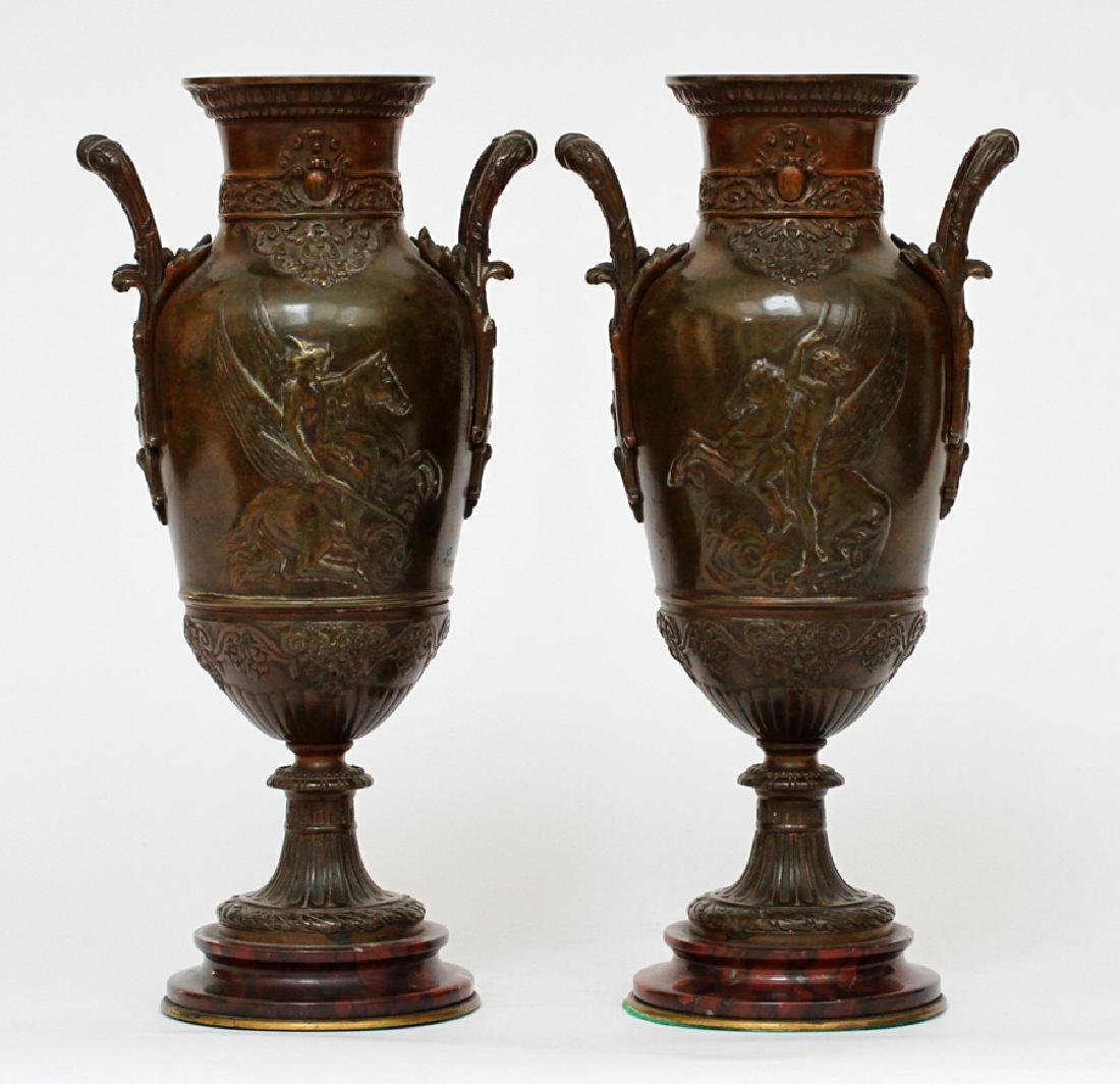FRENCH, PATINATED BRONZE & MARBLE  VASES, C. 1870