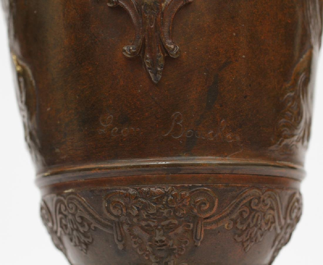 FRENCH, PATINATED BRONZE & MARBLE  VASES, C. 1870 - 3