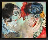 EMIL KELEMEN OIL ON CANVAS H 24 W 30 CLOWNS