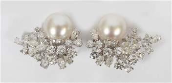 3.85 CT DIAMOND & 13MM PEARL EARRING SET