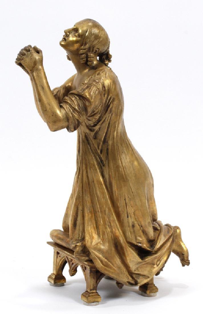 BRONZE SCULPTURE, KNEELING WOMAN PRAYING